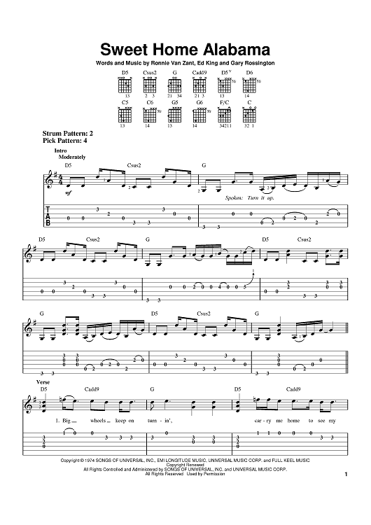 Sweet home alabama (made easy). Sweet Home Alabama Quot Sheet Music By Lynyrd Skynyrd Alabama For Easy Guitar Tab Sheet Music Now