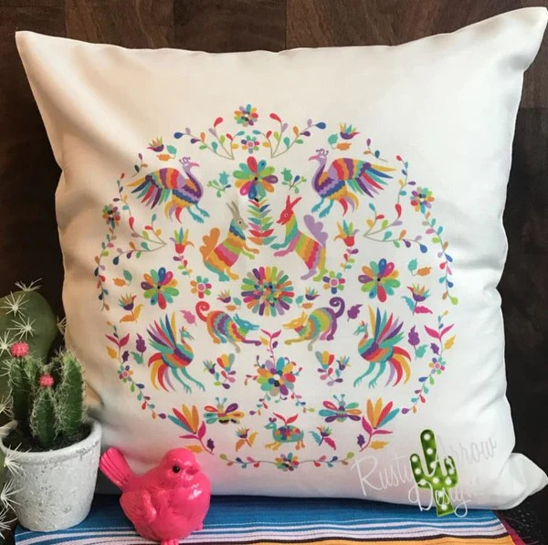 rusty arrow designs white otomi pillow cover
