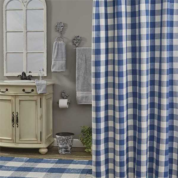 wicklow check shower curtain china blue