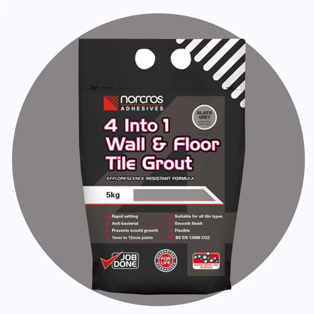norcros 4 into 1 flexible floor wall grout slate dark grey