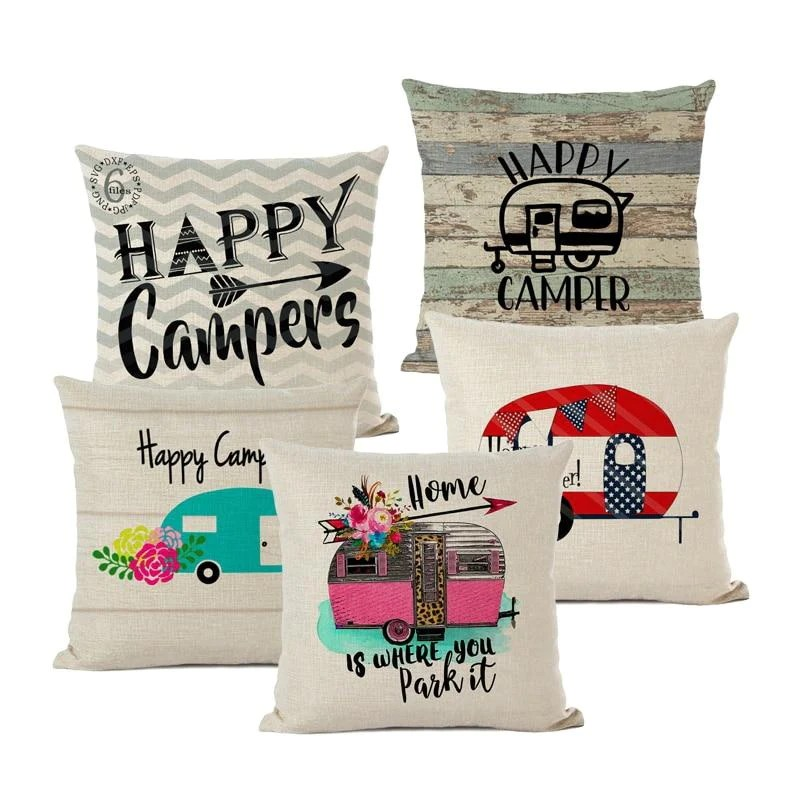 happy camper cushion covers for decorative pillows