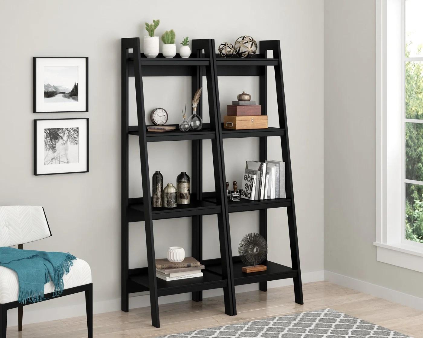 Dorel Home Lawrence Range 4 Shelf Ladder Bookshelf In Black