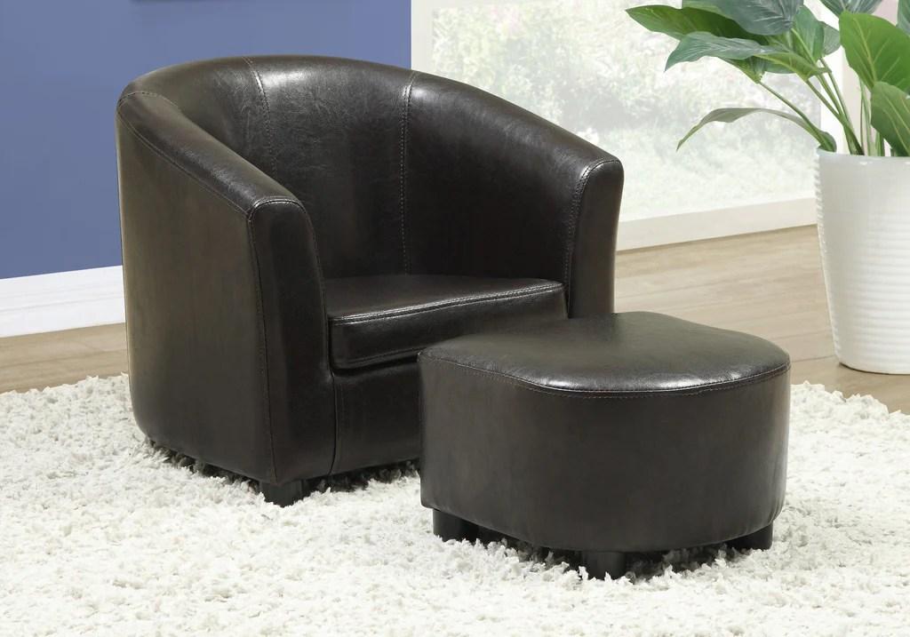 monarch specialties i 8103 ensemble chaise et pouf juvenile 2 mcx similicuir brun moi ma