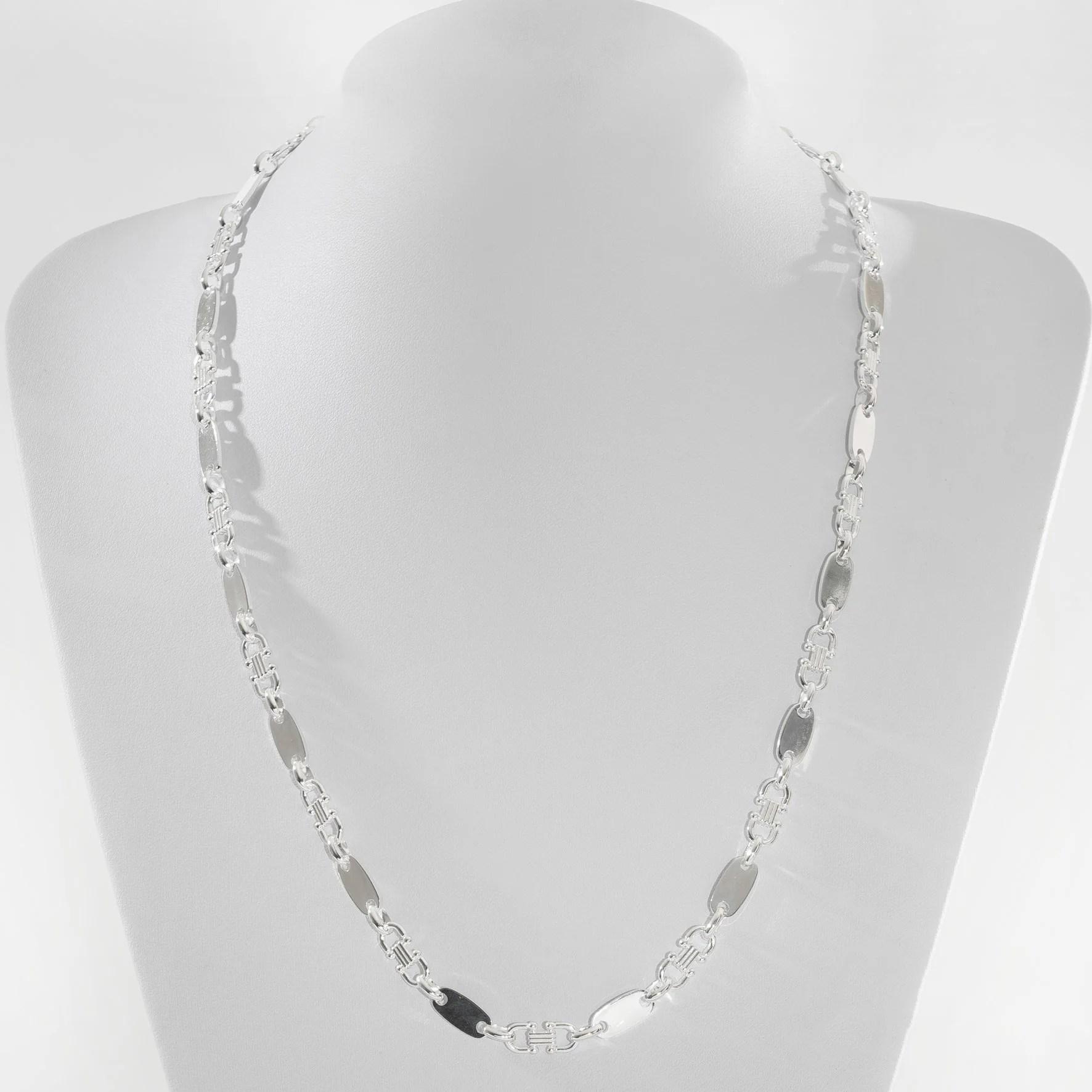 chaine a plaques de 6mm de large et 60cm de long en argent sterling 925 k137 bijoux de taipan
