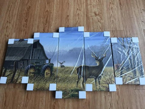 5-pieceTractor and Farm Life printed Canvas Wall Art 1