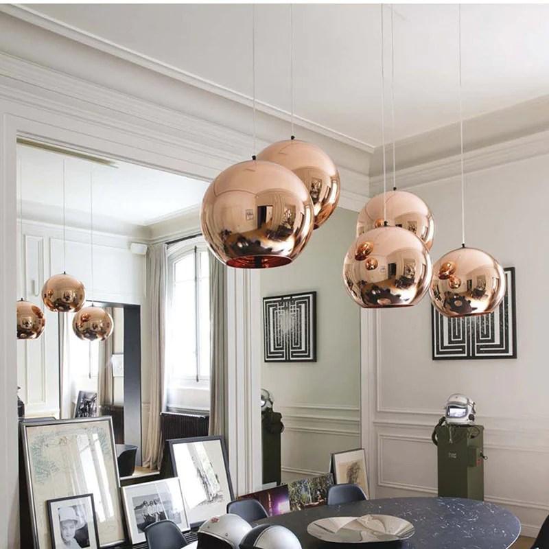 copper globe pendant light