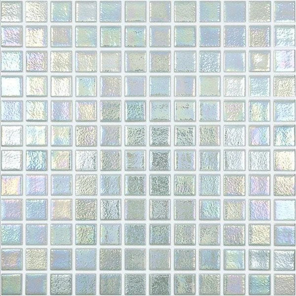 mtod0067 classic 1x1 stacked squares iridescent white glossy glass mosaic tile