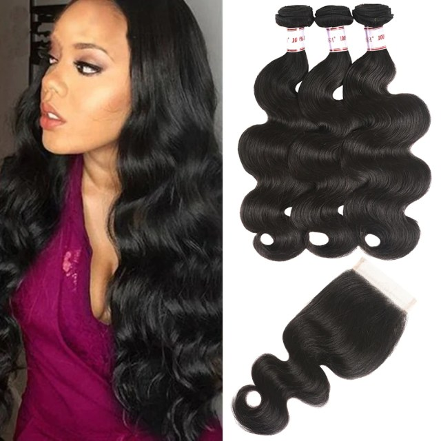 brazilian virgin body wave hair 3 bundles with free part closure 100% unprocessed human hair weave with 4x4 lace closure natural black color