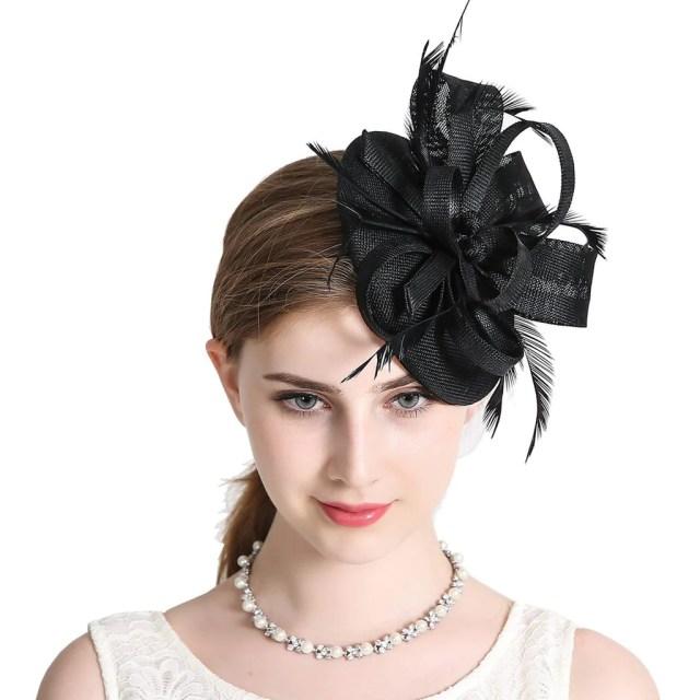 women elegant fascinator hat bridal feather hair clip