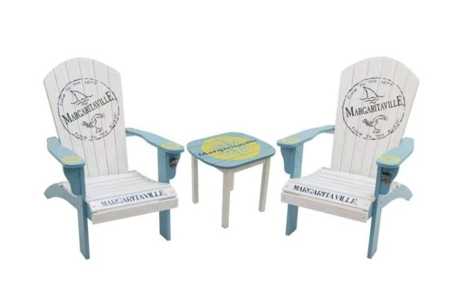 margaritaville painted wood fins adirondack chairs set of 2 matching nautical table