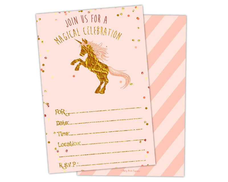 pink and gold fill in blank unicorn birthday invitations