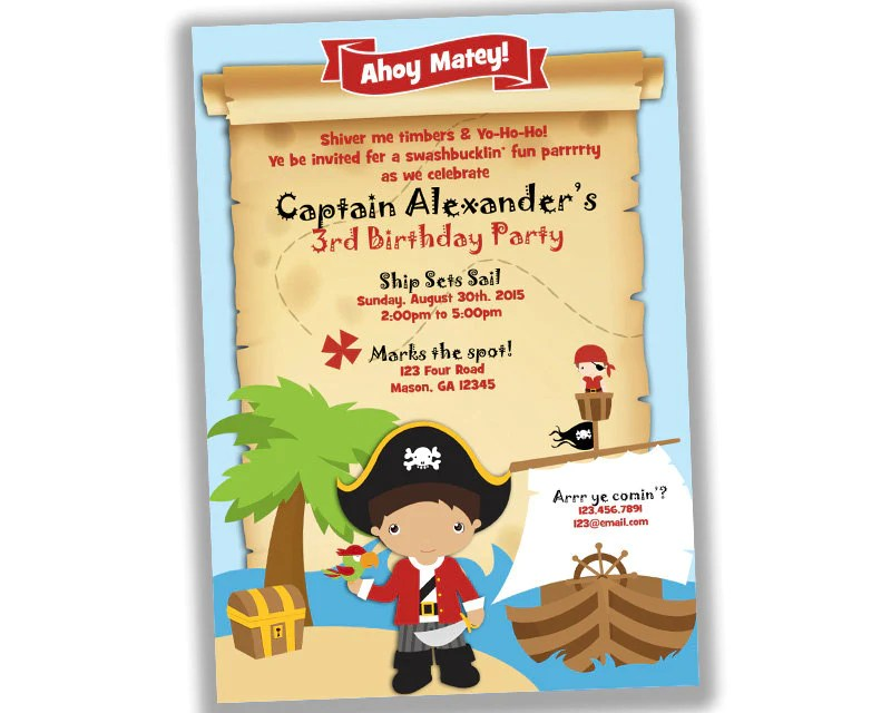 ahoy pirate birthday party invitations map