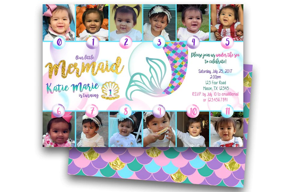 photo mermaid 1st birthday invitations