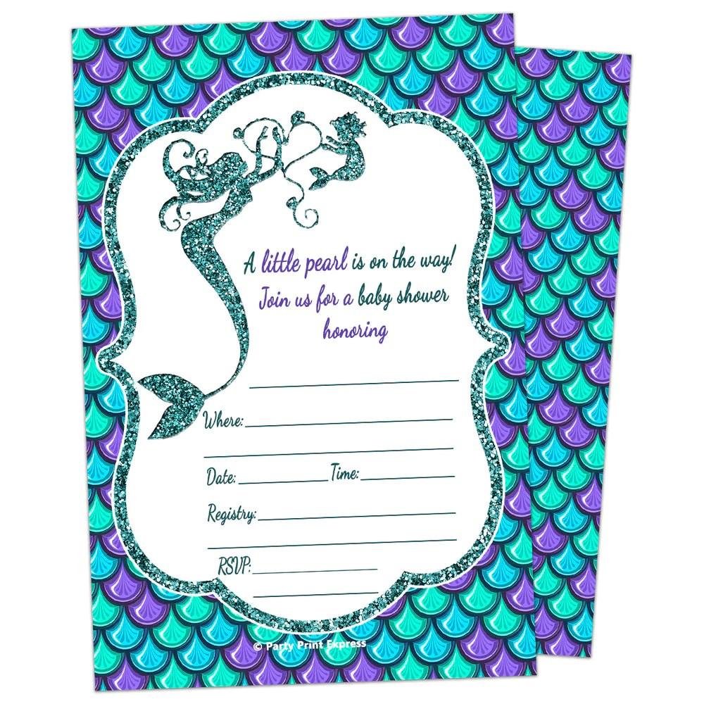 printed fill in blank glitter mermaid baby shower invitations