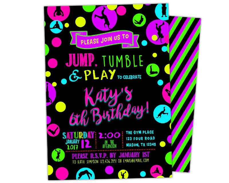 neon gymnastics birthday invitation girl