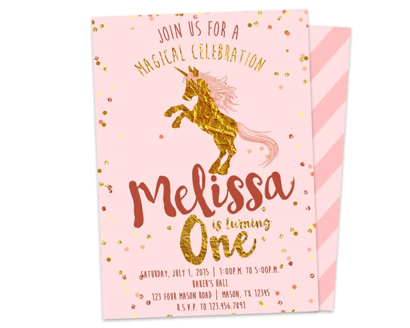 unicorn 1st birthday invitation one