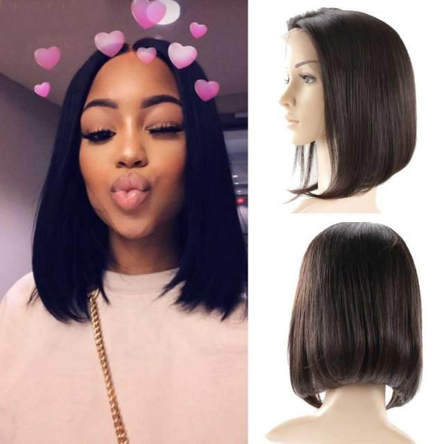 10a brazilian straight bob wig middle part