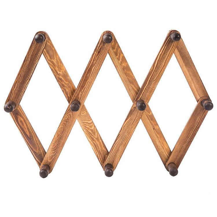 burnt wood accordion peg coat rack
