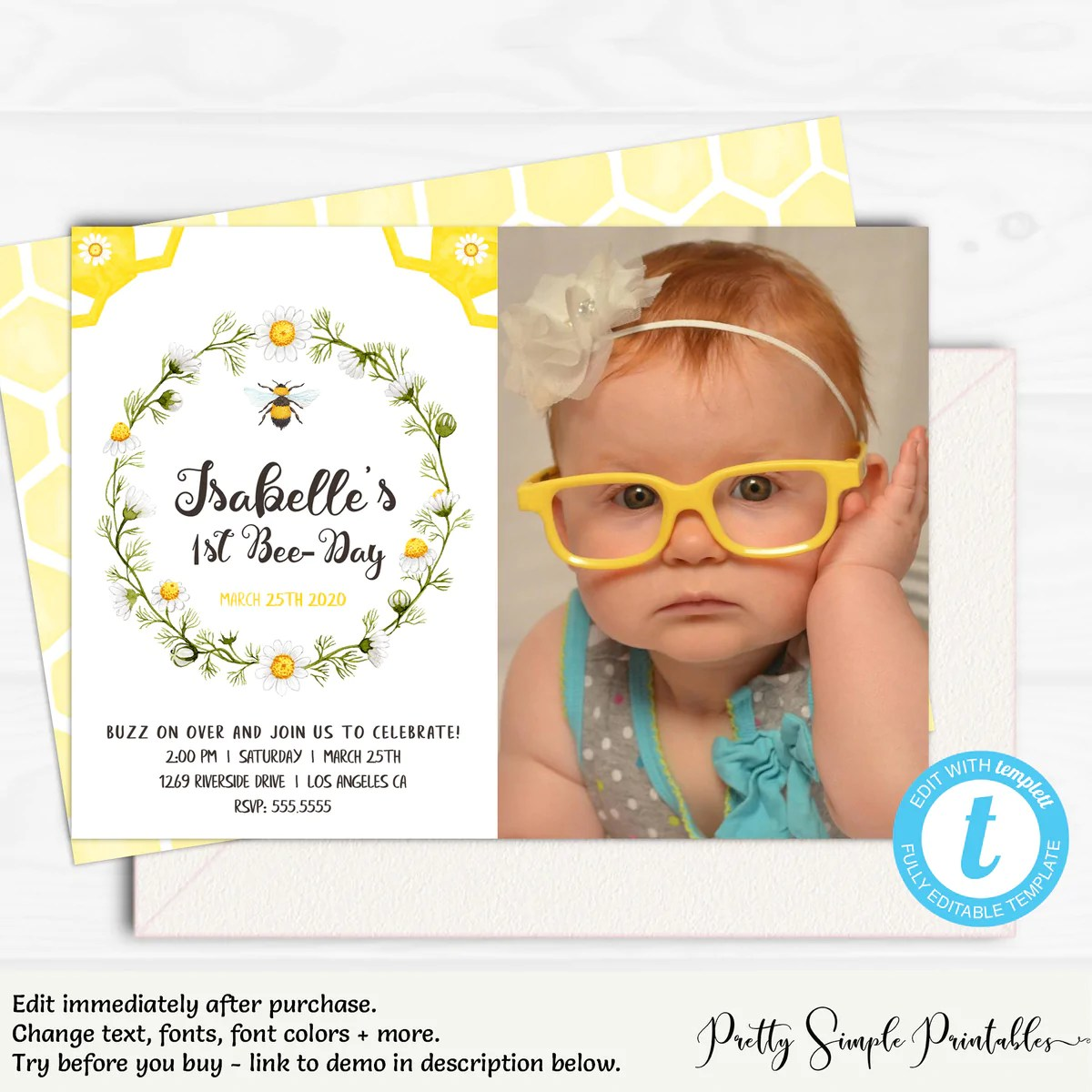 photo invitation 1st bee day invitation bee1 pretty simple printables