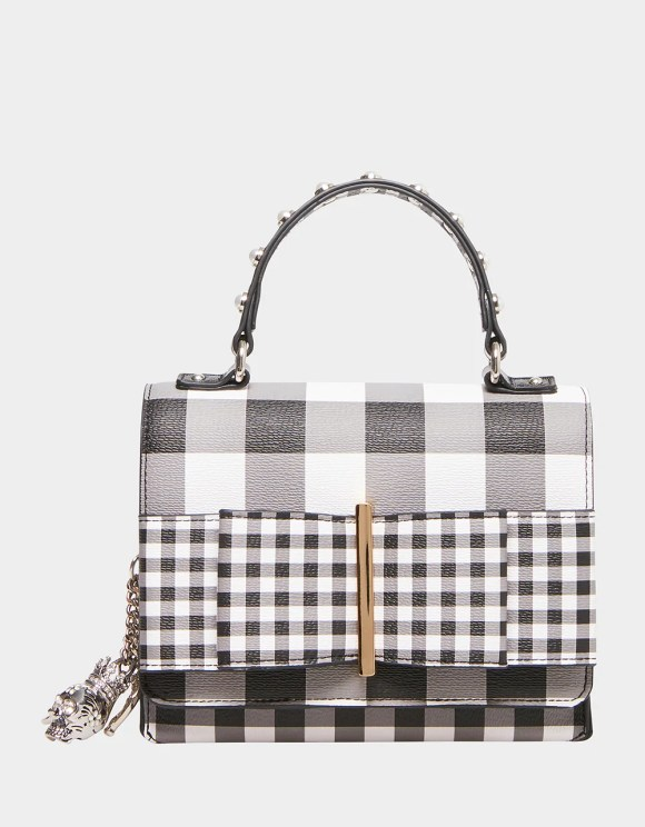 BOWING OUT GINGHAM CROSSBODY BLACK-WHITE