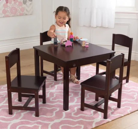farmhouse kids table and 4 chair set espresso by kidkraft