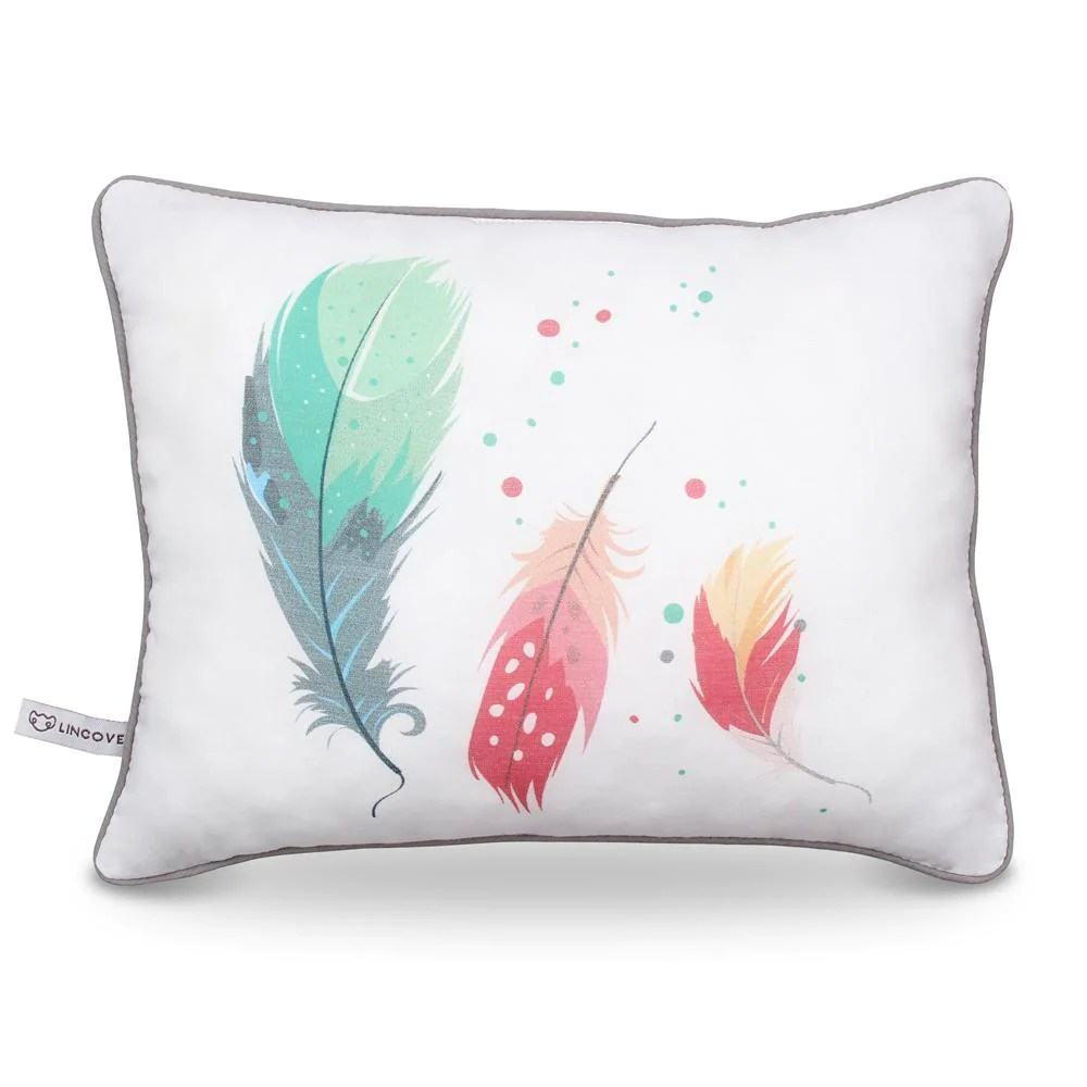 feathers print pillow