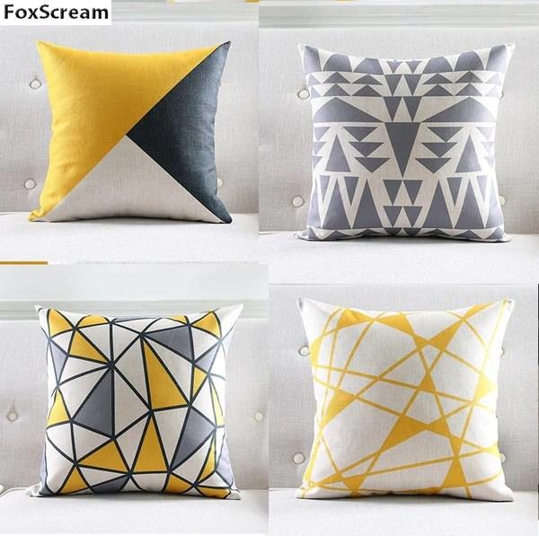 nordic cushion yellow decorative