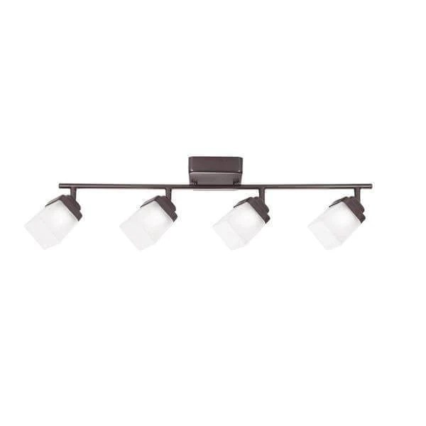 4 light bronze led dimmable fixed track lighting kit with straight bar frosted square glass damaged box