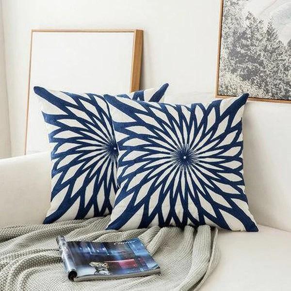 navy blue geometric cushion covers a