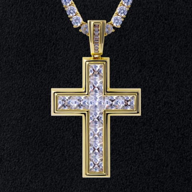 Princess Cut Cross Pendant in 14k Gold