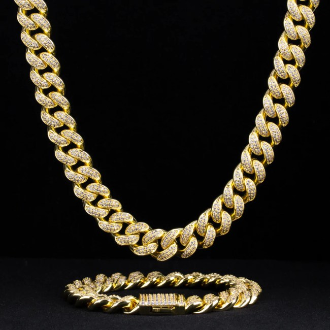 12mm Iced Cuban Chain and Bracelet Set in 14K Gold