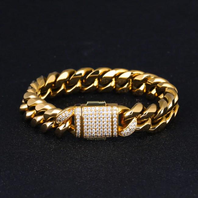 12mm Iced Miami Cuban Link Bracelet in 18K Gold