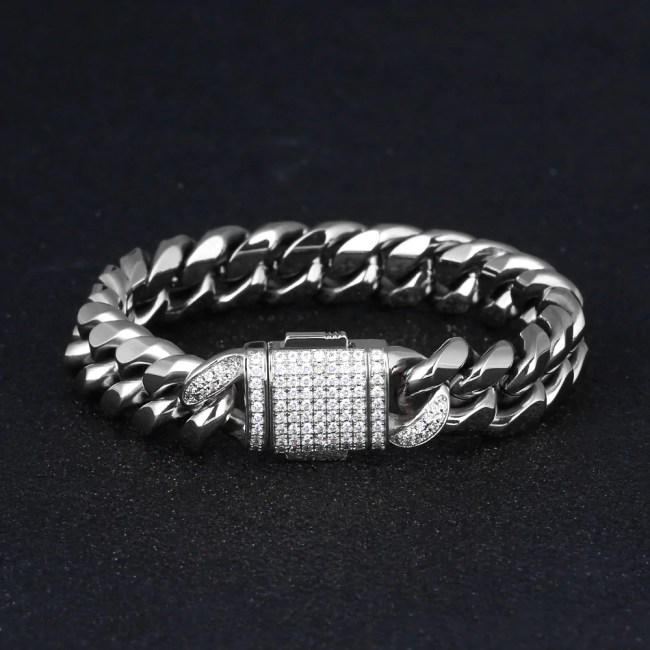 12mm Iced Miami Cuban Link Bracelet in White Gold