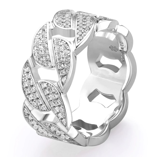 Iced Cuban Link Ring in White Gold