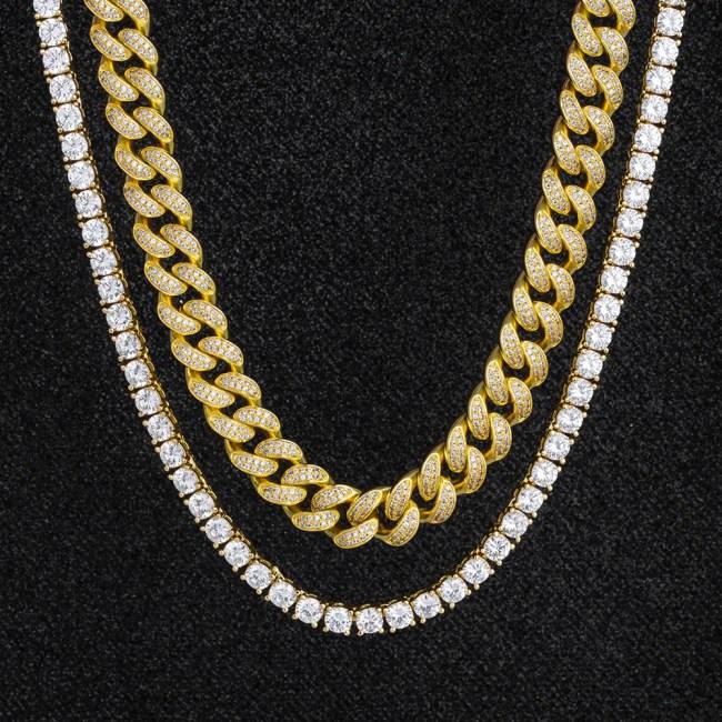 Miami Cuban Choker and Tennis Chain Set in 14K Gold