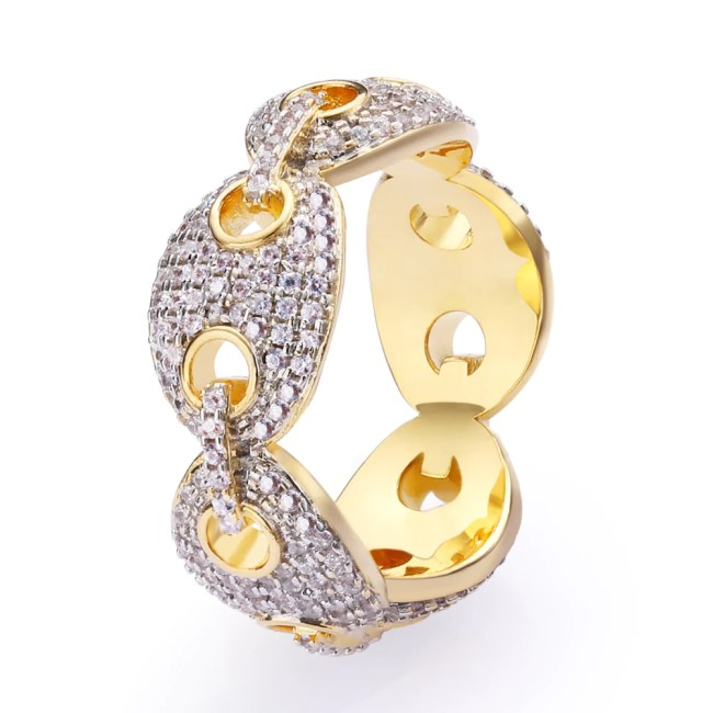 Iced Gucci Link Ring in 18K Gold