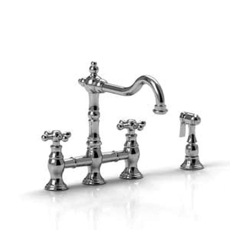 riobel br400 bn bridge kitchen faucet w spray brushed nickel