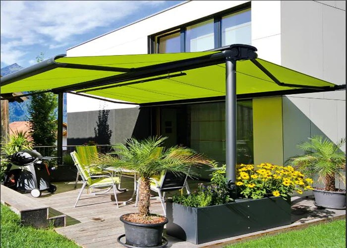 ds8200 aluminum manual retractable double side free standing awning awnings for patio garden