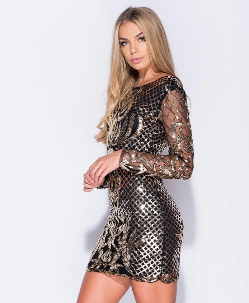 Black Dress Sequin Sleeves