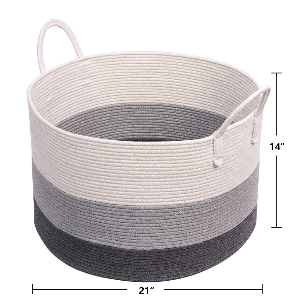 Xxxl Gray Bathroom Storage Baskets Woven Rope Basket With Handles Clothes Hamper Timeyard