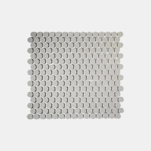 light grey gloss penny round mosaic