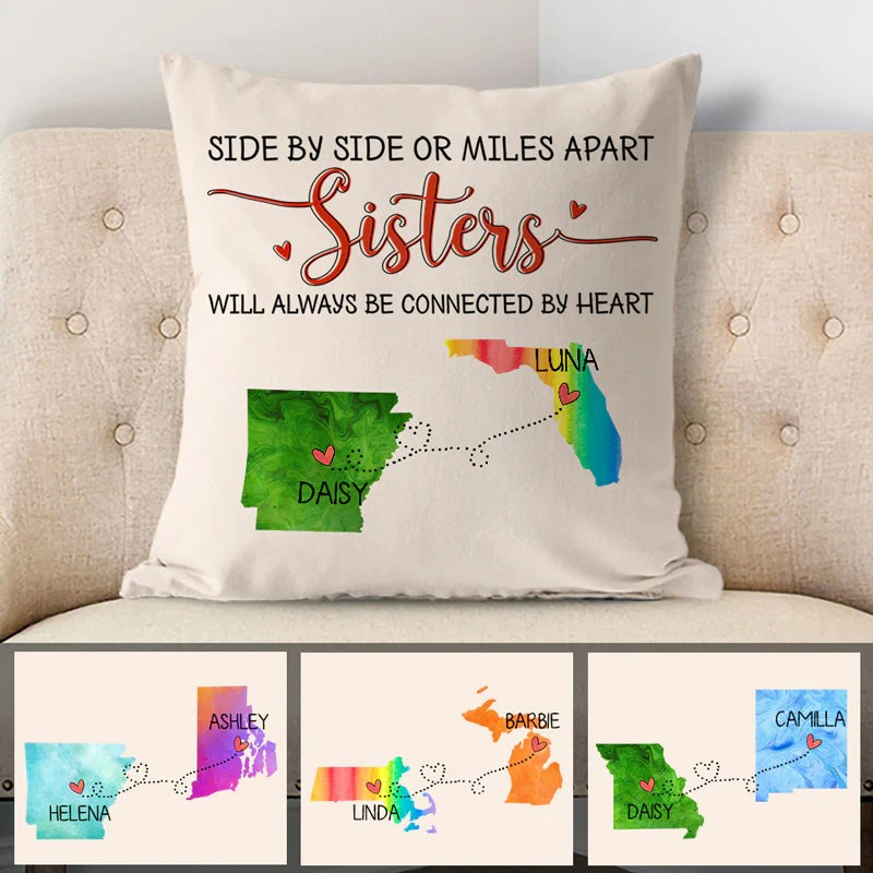 sisters will always be connected by heart long distance personalized state colors pillow custom moving gift 2 sided