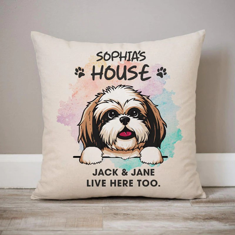live here too personalized pillows custom gift for dog lovers 2 sided