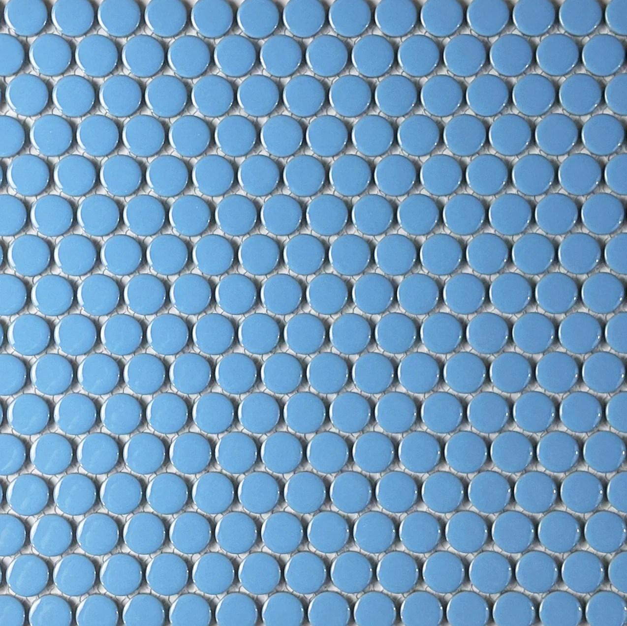 moddotz porcelain penny round tile retro blue