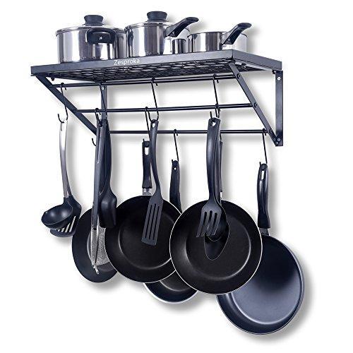 zesproka kitchen wall pot pan rack with 10 hooks black you buy i ship