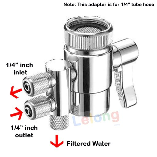 2 ways faucet adapter 1 4 inches input output 2 ways faucet diverter for water filters system