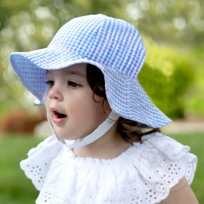 Monogrammed Blue and White Gingham Baby Sun Hat- Baby Girl Sun Hat