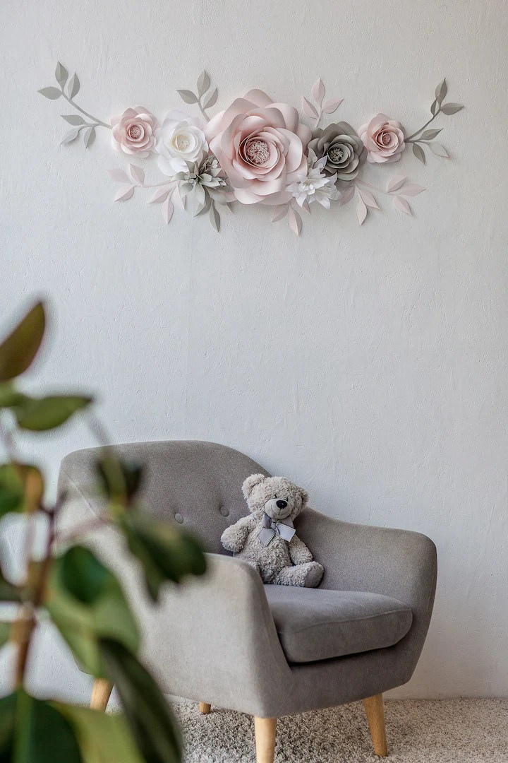 Paper Flower Wall Arrangement - Nursery Wall Decor with ... on Decorative Wall Sconces For Flowers Arrangements id=47264