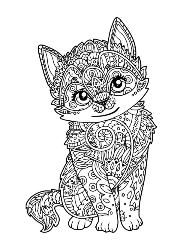 Cute Kitten Coloring Page  Free Download - Cat Cave Co