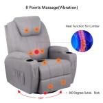 Homhum Grey Fabric Massage Recliner Chair 360 Degree Swivel Heated Ergonomic Lounge